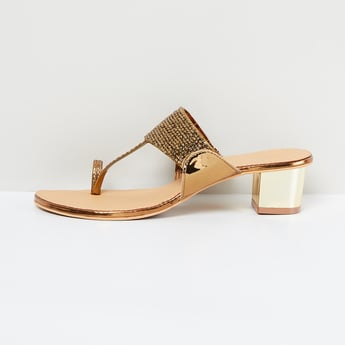 MAX Embellished Tow-Strap Block Heels