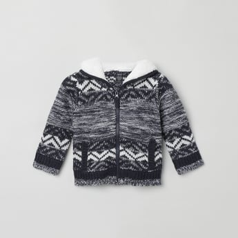 MAX Jacquard Patterned Hooded Zip-Up Sweater