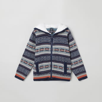 MAX Jacquard Patterned Hooded Sweater
