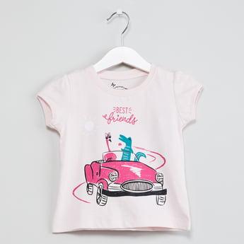 MAX Graphic Print Cap Sleeves T-shirt