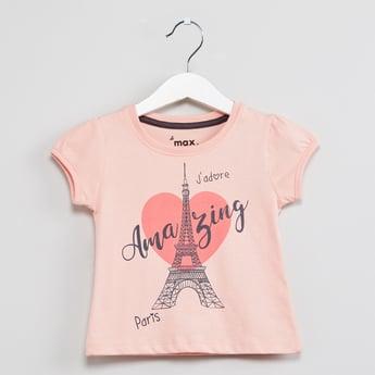 MAX Paris Print Round Neck T-shirt