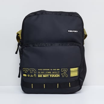 MAX Typographic Print Messenger Laptop Bag