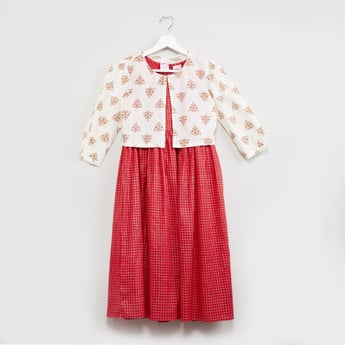 MAX Checked A-line Dress with Jacket - Set of 2 Pcs.