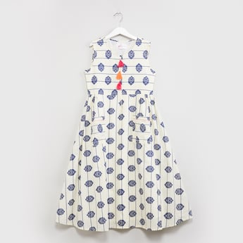 MAX Printed Sleeveless Fit & Flare Dress