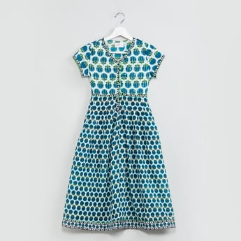 MAX Floral Print V-neck A-line Dress