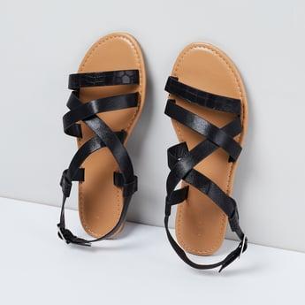 MAX Textured Buckled Strap Sandals