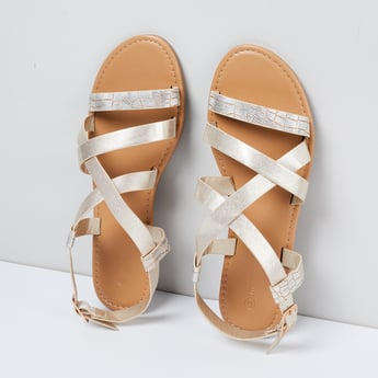 MAX Textured Buckled Strap Sandals