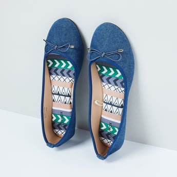 MAX Solid Denim Ballerinas with Bow Applique