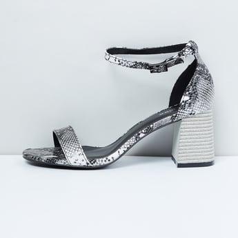 MAX Snakeskin Print Ankle-Strap Block Heels
