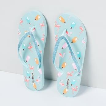 MAX Flamingo Print Shimmery Flip-Flops