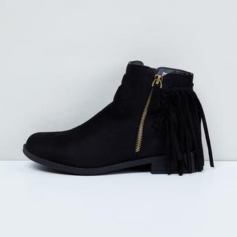 MAX Solid Fringe Trimmed Boots
