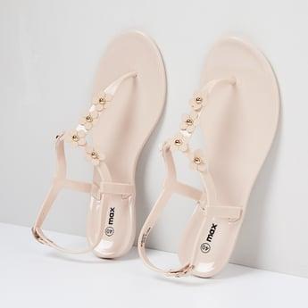 MAX Applique Detail Ankle Strap Flats