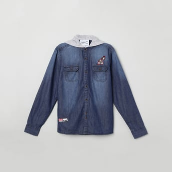 MAX Stonewashed Hooded Denim Shirt