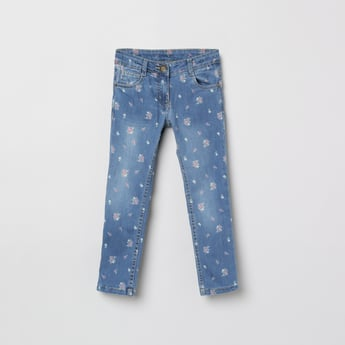 MAX Floral Print Jeans with 5 Pockets
