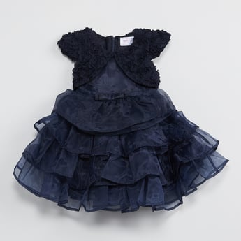 MAX Rosette Tulle Layered Fit-and-Flare Dress