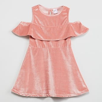 MAX Cold-Shoulder Shimmery A-line Dress