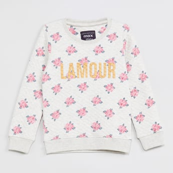 MAX Floral Print Quilted Sweatshirt