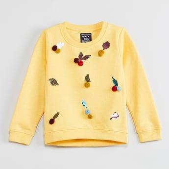 MAX Embellished Pom Pom Detail Sweatshirt