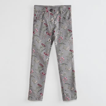 MAX Floral Print Jeans with Button Closure