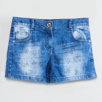 MAX Floral Print Stonewashed Denim Shorts