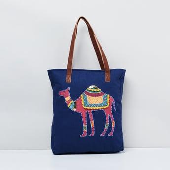 MAX Camel Applique Zip-Closure Tote Bag