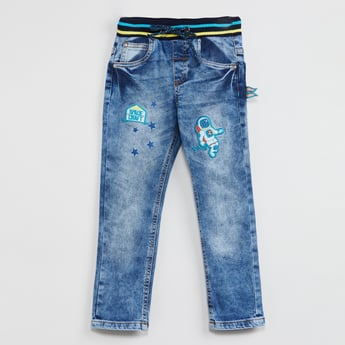 MAX Stonewashed Applique Detail Jeans