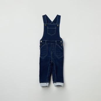 MAX Solid Folded-Cuff Dungarees