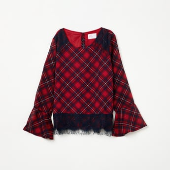 MAX Bell Sleeves Checked Top with Lace