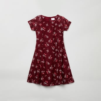 MAX Floral Printed A-line Dress with Lace Detail