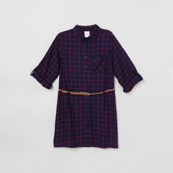 MAX Checked Shirt Tunic with Braided Belt