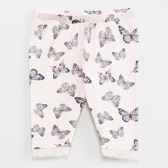 MAX Butterfly Print Lace Trimmed Leggings