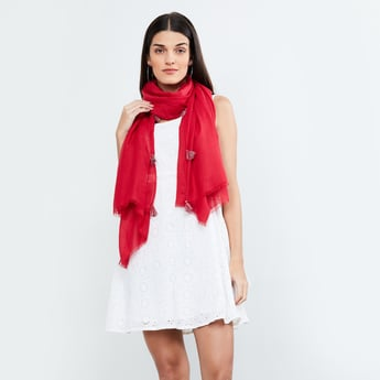 MAX Checked Tassel Trimmed Stole
