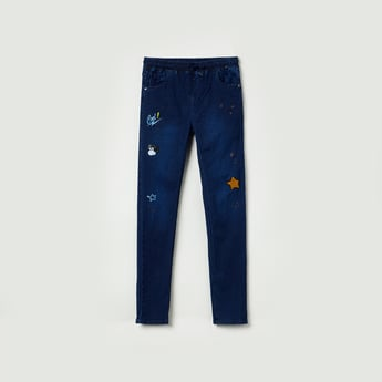 MAX Appliqued Drawstring Waist Jeans