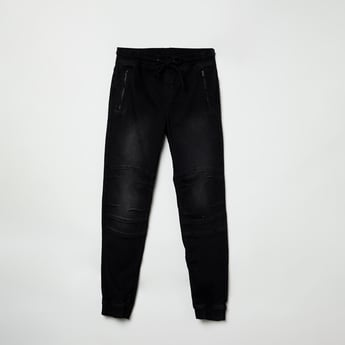 MAX Panelled Drawstring Waist Jogger Jeans