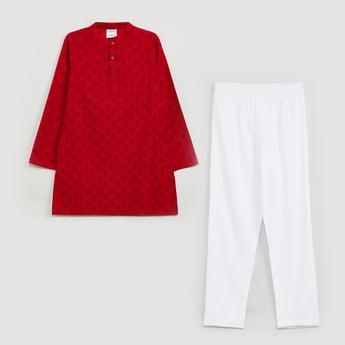 MAX Printed Mandarin Collar Long Kurta with Solid Pyjama