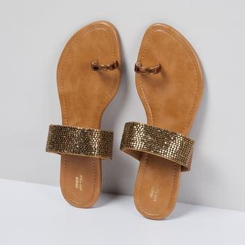 MAX Embellished Toe-Ring Flat Sandals