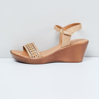 MAX Laser-Cut Embellished Ankle-Strap Wedges