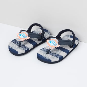 MAX Striped Slingback Slippers with Applique