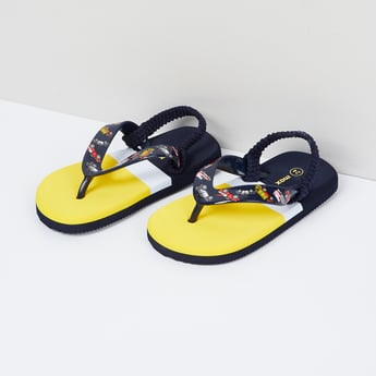 MAX Colourblock Slingback Slippers with Printed Strap