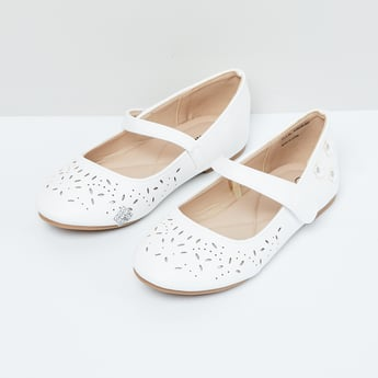 MAX Laser Cut Mary Janes with Floral Applique