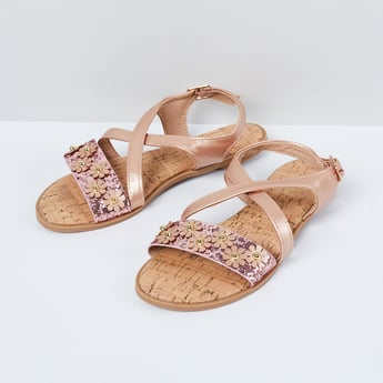 MAX Textured Flat Sandals with Floral Applique
