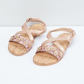 MAX Floral Embellished Ankle Strap Sandals