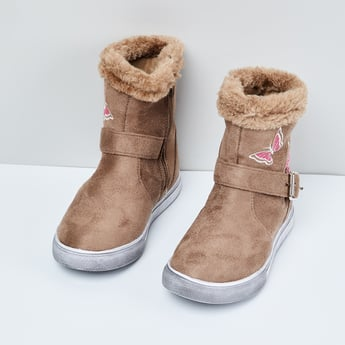 MAX Embroidered Boots with Faux-Fur Trim