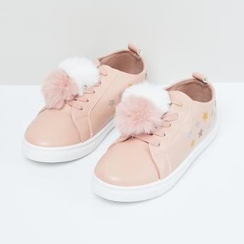 MAX Printed Pom-Pom Detailed Shoes