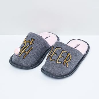 MAX Sequin Embellished Textured Indoor Slippers