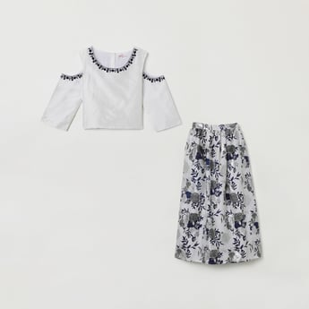 MAX Embroidered Cold-Shoulder Blouse with Long Skirt