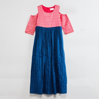 MAX Printed Cold-Shoulder Dress