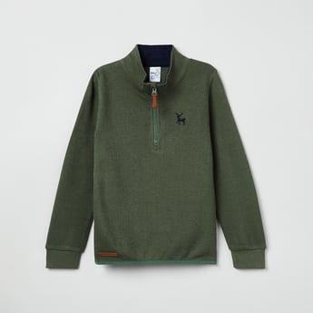 MAX Solid Zip-Up High Neck Sweatshirt