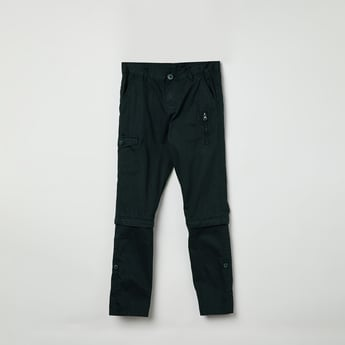MAX Solid Slim Fit Zip-Detailed Chinos
