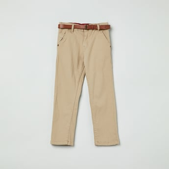 MAX Solid Slim Fit Chinos with Belt
